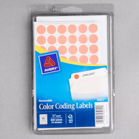 Avery 5051 1/2 inch Neon Red Round Removable Color Coding Labels - 840/Pack