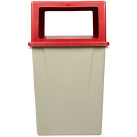 Carlisle 56 Gallon Beige Square Waste Container with Red Open-Sided Lid