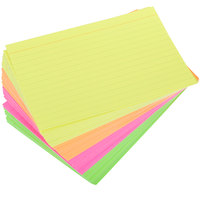 Universal UNV47237 4 inch x 6 inch Neon Glow Ruled Index Cards - 100/Pack