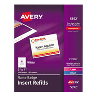 Avery 5392 3 inch x 4 inch White Badge Holder Laser / Inkjet Insert Refills - 300/Box