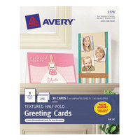 Avery 3378 5 1/2 inch x 8 1/2 inch White Printable Textured Half-Fold Greeting Cards with Envelopes - 30/Pack