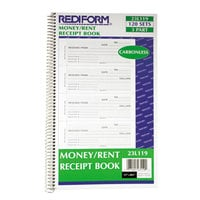 Rediform Office 23L119 3-Part Carbonless Money and Rent Unnumbered Receipt Book with 120 Sheets