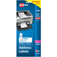 Avery 2160 1 inch x 2 5/8 inch Mini-Sheets White Printable Address Labels - 200/Pack