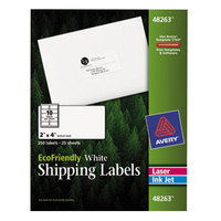 Avery 48263 EcoFriendly 2 inch x 4 inch White Easy Peel Shipping Labels - 250/Pack