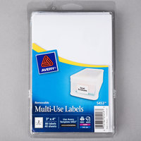 Avery 5453 3 inch x 4 inch White Rectangular Removable Write-On / Printable Labels - 80/Pack