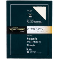 Southworth 404IC 8 1/2 inch x 11 inch Ivory Box of 24# 25% Cotton Business Paper - 500/Sheets