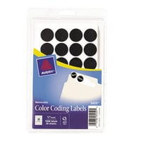 Avery 05459 3/4 inch Black Round Removable Write-On / Printable Labels - 1008/Pack