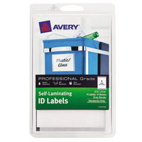 Avery 00745 3 3/4 inch x 5 3/4 inch White with Gray Border Rectangular Write-On Self-Laminating ID Labels - 4/Pack