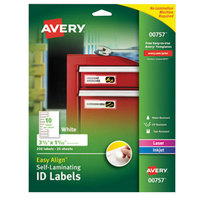 Avery 00757 Easy Align 1 1/32 inch x 3 1/2 inch White Rectangular Printable Self-Laminating ID Labels - 250/Pack