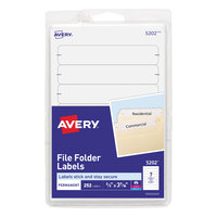 Avery 5202 11/16 inch x 3 7/16 inch White Rectangular Write-On / Printable 1/3 Cut File Folder Labels - 252/Pack