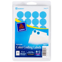 Avery 5461 3/4 inch Light Blue Round Removable Write-On / Printable Labels - 1008/Pack