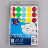 Avery 5473 3/4 inch Round Assorted Removable See-Through Color-Coding Dot Labels - 1015/Pack