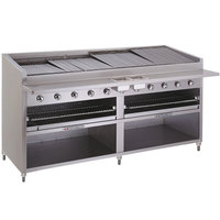 Bakers Pride F-84GS Liquid Propane 84 inch Floor Model Glo Stone Charbroiler - 360,000 BTU