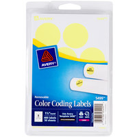 Avery 5499 1 1/4 inch Neon Yellow Round Removable Write-On / Printable Labels - 400/Pack