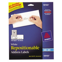 Avery 58160 1 inch x 2 5/8 inch White Repositionable Mailing Address Labels - 750/Pack