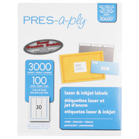 Avery 30600 PRES-a-ply 1 inch x 2 5/8 inch White Rectangular Laser Address Labels - 3000/Box