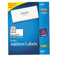 Avery 5360 1 1/2 inch x 2 13/16 inch White Copier Mailing Address Labels - 2100/Box