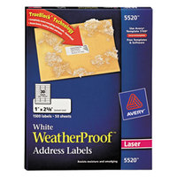 Avery 5520 TrueBlock 1 inch x 2 5/8 inch Weatherproof White Mailing Address Labels - 1500/Box