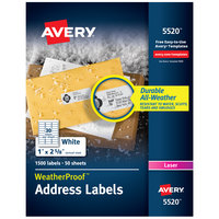 Avery 5520 TrueBlock 1 inch x 2 5/8 inch Weatherproof White Mailing Address Labels - 1500/Box