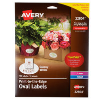 Avery 22804 Easy Peel 1 1 /2 inch x 2 1/2 inch True Print White Glossy Oval Print-to-the-Edge Labels - 180/Pack