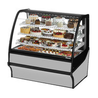 True TDM-R-48-GE/GE 48 inch Stainless Steel Curved Glass Refrigerated Bakery Display Case