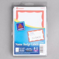 Avery 5143 2 1/3 inch x 3 3/8 inch Printable Self-Adhesive Name Badges with Red Border - 100/Pack