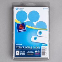 Avery 5496 1 1/4 inch Light Blue Round Removable Write-On / Printable Labels - 400/Pack