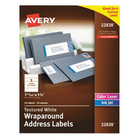 Avery 22838 1 3/4 inch x 7 17/20 inch White Rectangular Textured Wraparound Address Labels - 50/Pack