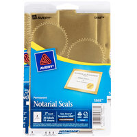 Avery 05868 2 inch Metallic Gold Write-On / Printable Notarial Seals - 44/Pack