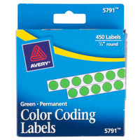 Avery 05791 1/4 inch Green Round Permanent Write-On Color Coding Labels - 450/Pack