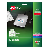 Avery 6570 1 1/4 inch x 1 3/4 inch White Permanent ID Labels - 480/Pack
