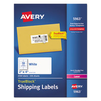 Avery 5963 TrueBlock 2 inch x 4 inch White Shipping Labels - 2500/Box