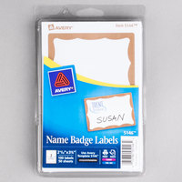 Avery 5146 2 1/3 inch x 3 3/8 inch Printable Self-Adhesive Name Badges with Gold Border - 100/Pack