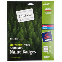 Avery 48395 2 1/3 inch x 3 3/8 inch Ecofriendly White Adhesive Name Badge Labels - 80/Pack