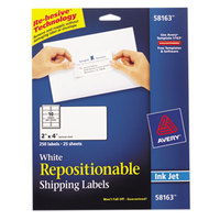 Avery 58163 2 inch x 4 inch White Repositionable Mailing Address Labels - 250/Pack
