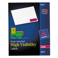 Avery 5979 1 inch x 2 5/8 inch High-Visibility Assorted Neon ID Labels - 450/Pack