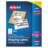 Avery 27901 5 1/16 inch x 7 5/8 inch White Rectangular Shipping Labels with Paper Receipts - 250/Box