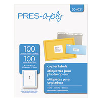 Avery 30403 8 1/2 inch x 11 inch White Full-Sheet Copier Labels - 100/Box