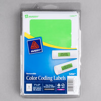 Avery 05494 1 inch x 3 inch Neon Green Rectangular Removable Write-On / Printable Labels - 200/Pack