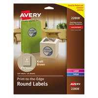 Avery 22808 2 1/2 inch Kraft Brown Round Print-to-the-Edge Labels - 225/Pack