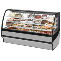 True TDM-R-77-GE/GE 77 inch Stainless Steel Curved Glass Refrigerated Bakery Display Case