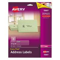 Avery 15661 Easy Peel 1 inch x 4 inch Clear Laser Printer Address Labels - 200/Pack