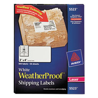 Avery 5523 TrueBlock 2 inch x 4 inch Weatherproof White Shipping Labels - 500/Box