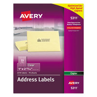 Avery 5311 Easy Peel 1 inch x 2 13/16 inch Clear Copier Mailing Address Labels - 2310/Pack