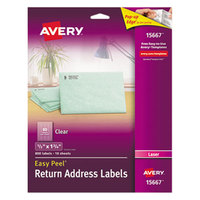 Avery 15667 Easy Peel 1/2 inch x 1 3/4 inch Clear Laser Printer Return Address Labels   - 800/Pack