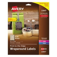 Avery 22847 5/8 inch x 7 1/2 inch Kraft Brown Rectangular Wraparound Print-to-the-Edge Labels - 300/Pack