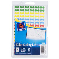 Avery 05795 1/4 inch Assorted Colors Round Removable Write-On Color Coding Labels - 768/Pack