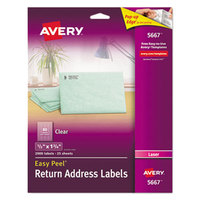 Avery 5667 1/2 inch x 1 3/4 inch Easy Peel Clear Return Address Labels - 2000/Pack