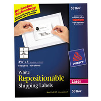 Avery 55164 3 1/3 inch x 4 inch White Repositionable Shipping Labels - 600/Box