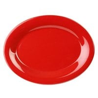 Thunder Group CR209PR 9 1/2 inch x 7 1/4 inch Oval Pure Red Platter - 12/Pack